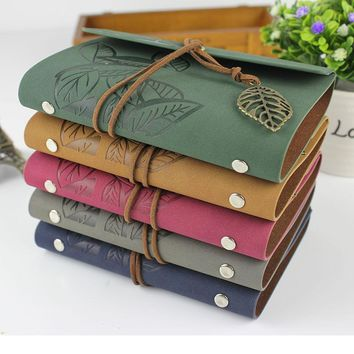 RuiZe 2016 Hot sale Vintage spiral notebook leather journal diary blank kraft paper note book sketchbook A6 A7 ring binder