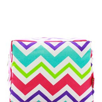 Multi-Chevron Cosmetic Bag