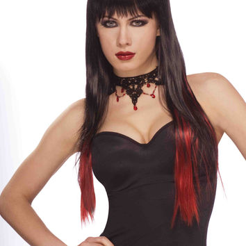 Sexy Gothic Vamp Wig Black with Red