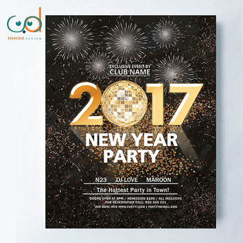 New Year Party Flyer Custom Template, Perfect for NYE Events of all kind, Glitter, sparkle design, custom, I replace the text for your flyer