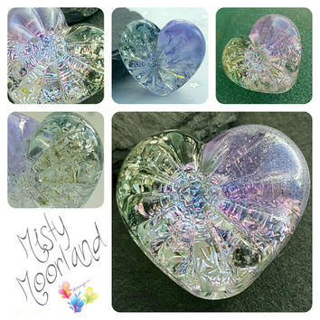 Lampwork Focal Bead, Misty Moorland Starburst Heart, Heart Bead, pastel tones, Glitter Bead, silver, Faceted Bead, lilac, lavender, Luminous