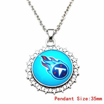 1pcs/lot 20 Inch Chains Necklace Star Tennessee Titans Glass Pendant Necklace For Women Long Necklace DIY Jewelry