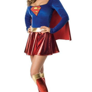 Superman SuperWoman Costumes halloween Apparel Uniform cosplay Clothings Party costume stage costumes (Size: M) = 1946351044