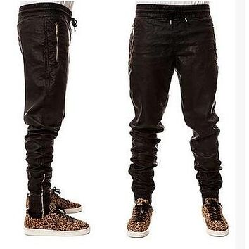 Nice Quality  Faux Leather Biker Jogger Pants Men  Golden Zipper Hippie Dancer Kanye PU Leather Trousers Harem Pants US Size