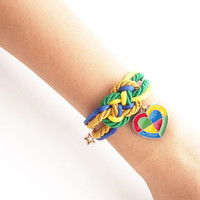 Rope knot jewelry - Infinity knot rope - friendship bracelet - nautical jewelry - colorful heart charm