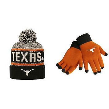 Licensed NCAA Texas Longhorns Acid Rain Beanie Hat And Glove Solid Knit 2 Pack 08507 KO_19_1