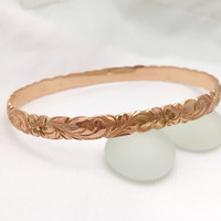 Traditional Hawaiian Hand Engraved 14k Gold Bracelet (6mm width, cutout design)