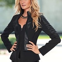 Black (BK) Faux Leather Detail Jacket