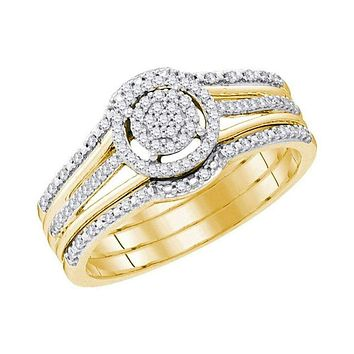 10kt Yellow Gold Womens Round Diamond Cluster 3-Piece Bridal Wedding Engagement Ring Band Set 1/4 Cttw