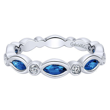 14K White Gold Diamond and Marquise Sapphire Stackable Ring