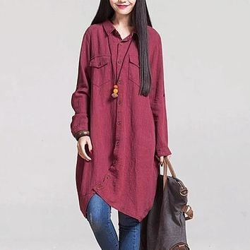 New Fashionable Style Loose Casual Cotton Vintage Looks Dress