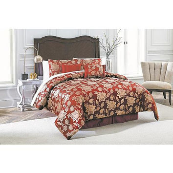 7-piece Jacquard Comforter Set - Burgundy Floral Jacobean, QUEEN