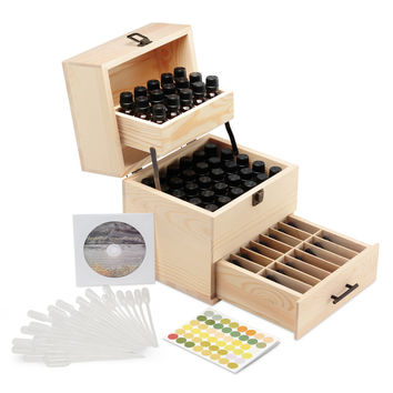 Anji Naturals Essential Oils Wooden Storage Case Holds Up to 59 Bottles