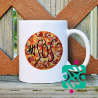 5 SOS Logo on Pizza Coffee Mug, Ceramic Mug, Unique Coffee Mug Gift Coffee