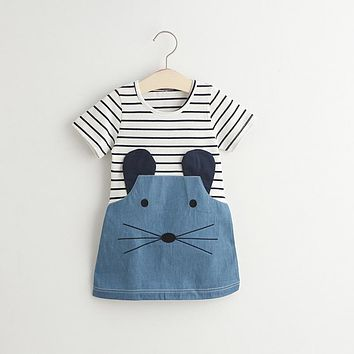 Baby Girl Casual Dress 2017 Summer Brand Girls Tunic Dress Stripe Mouse Denim Kids Clothing Robe Fille Cotton Children Dresses