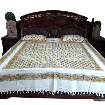 Mogul Boho Bedspread- Indian Bedding Paisley Cotton Tapestry Queen 3p Set