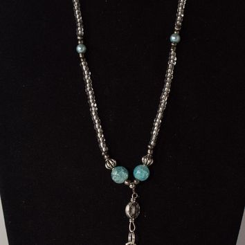 Artisan Aquamarine and Clear Crystal Beads 3pc Jewelry Set
