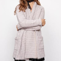 minkpink - now & then chunky knit sweater coat - light grey