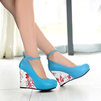 Stylish Ankle Strap High Wedges Platform Pumps