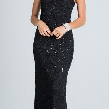 Black Long Formal Dress Lace with Embellished Neckline