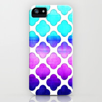 Cobalt Blue, Hot Pink & Mint Watercolor Moroccan Pattern iPhone & iPod Case by Tangerine-Tane