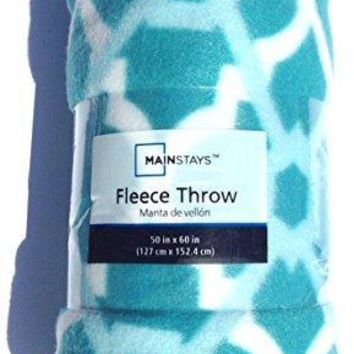 Teal Fretwork Fleece Throw Blanket 50x60 inches