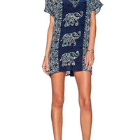 Tapestry Print Elephant Print V Neck Dress in Blue