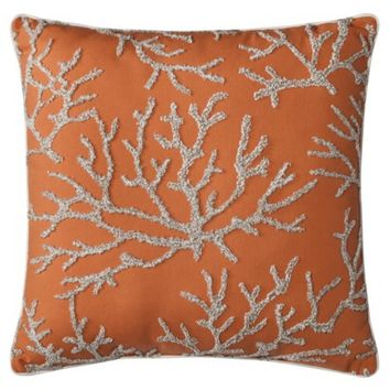 """Threshold™ Embroidered Coral Toss Pillow (18x18"""")"""