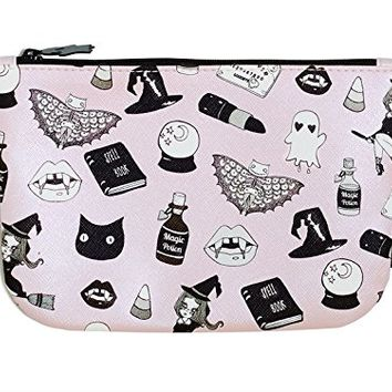 IPSY Valfre October 2016 Zippered Makeup Bag - Pink Black Halloween Design