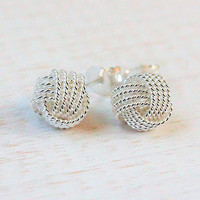 Knot earrings, 925 sterling silver 8 mm earring studs, love knot, anniversary gift for wife, birthday gift for best friend