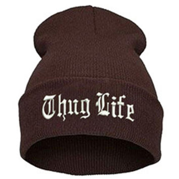 THUG LIFE Letter Embroidered Unisex Beanie Fashion 2pac Hip Hop Mens & Womens Knitted Coffee & White Tupac Cuffed Skully Hat