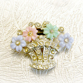 Flower Basket Dress Clip, Rhinestone, Pot Metal, Molded Glass, Vintage