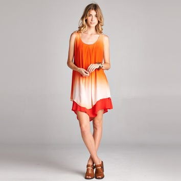 Ombre Layered Tunic Dress