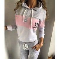"""Adidas"" Fashion Multicolor Hoodie Sweater Pants Trousers Set Two-Piece"