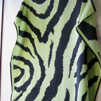Sexy, Sophisticated Vintage Chartreuse & Black Animal Print Scarf - Black with Chartreuse Green Silk Scarf - Vintage '80s Glam Scarf
