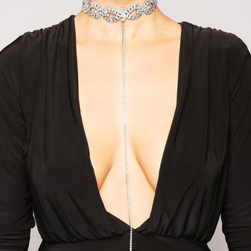 SILVER DIAMANTE PATTERNED DROP CHAIN CHOKER
