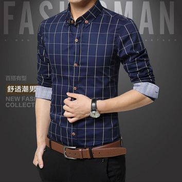 Plaid Men Shirts Fashion High Quality Men Dress Shirts Business Clothing Social Casual Shirts Chemise Home