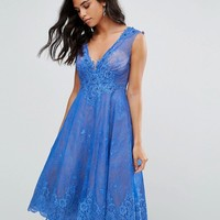 Forever Unique Lace Midi Skater Dress at asos.com