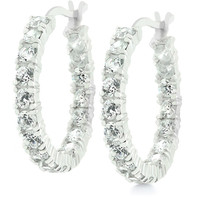 Sterling Silver Eternity Hoop Earrings