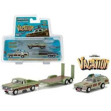"1972 Ford F100 Pickup with 1979 Wagon Queen Family Truckster with Flatbed Trailer which has Working Ramps ""National Lampoon's Vacation"" Movie (1983) Hollywood Hitch and Tow Series 4 1/64 Diecast Model by Greenlight"
