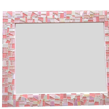 SALE Pink Mosaic Wall Mirror // Wall Decor // Baby Girl Nursery
