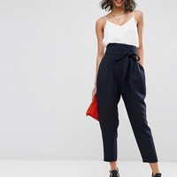 ASOS Tailored Super High Waist Balloon Tapered PANTS With Self Belt at asos.com