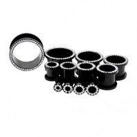 Black PVD Coated Threaded Tunnels With Clear Crystals - Sold as A Pair