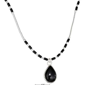 "Sterling Silver 16"" Liquid Silver With Teardrop Simulated Black Onyx Necklace"