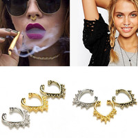 1piece Fake Septum Nose Rings Faux Piercing Nose Studs Nose Hoop Ring Body Jewelry