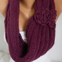 ON SALE - Burgundy Knit Infinity Scarf Shawl Circle Scarf Loop Scarf Gift Wine Scarf - fatwoman - chunky infinity scarf for her