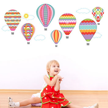 Hot Air Balloons and Clouds Wall Decals, Purples & Pinks Wall Decals