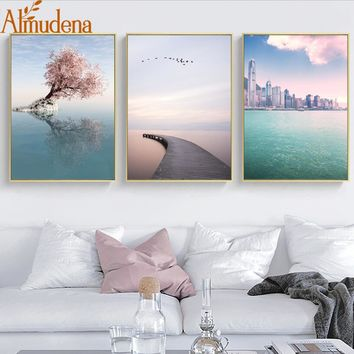 ALMUDENA Nordic Decoration Home Wall Art Picture Minimalist Romantic Sea Landscape Posters and Prints Unframed Canvas Painting