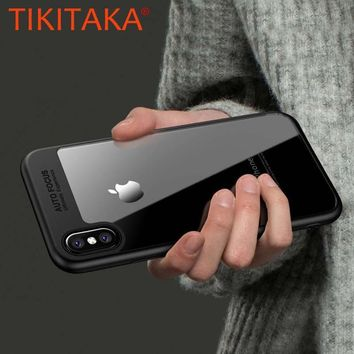 TIKITAKA Phone Cases For iPhone X Case Luxury Transparent TPU & Acrylic HD Ultra thin Back Cover For iPhone X Fitted Cases Funda