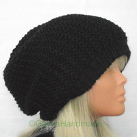 Slouchy Beanie Slouch Hats Oversized Baggy Cabled Hat Fall Winter Accessory Men Women Teens Girl Boy Wool Black